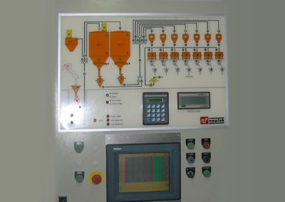 Electrical cabinet for full control of mixing room in a glass mosaic factory