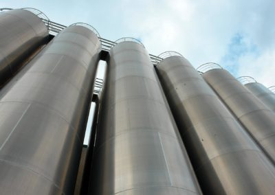 Stainless steel silos for the chemical industry